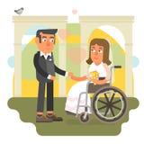 Wózka inwalidzkiego ślub Fotografia Royalty Free