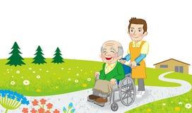 Wózka inwalidzkiego opiekun w naturze i ilustracji