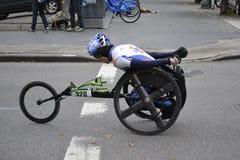 Wózka inwalidzkiego setkarza Miasto Nowy Jork maraton 2014 Obraz Stock