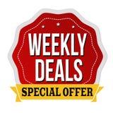 Wöchentliche Abkommen beschriften oder Aufkleber lizenzfreie abbildung