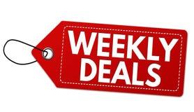 Wöchentliche Abkommen beschriften oder Preis stock abbildung