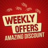 Wöchentliche Angebote, überraschende Rabattfahnenschablone vektor abbildung