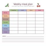 Wöchentlicher Mahlzeitplan, Essenszeitvektortagebuch lizenzfreie abbildung
