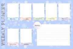 Wöchentlicher saisonalplaner mit fallendem Schneeflockendesign Lizenzfreie Stockbilder