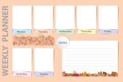 Wöchentlicher saisonalplaner mit Herbstlaubdesign Lizenzfreies Stockfoto