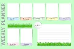 Wöchentlicher saisonalplaner mit neuem Grasdesign des Frühlinges Stockfotos
