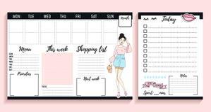 Wöchentlicher und täglicher Planerentwurf des Mädchenchefs mit Modeelementen und jungen Frauen vektor abbildung