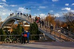 Wölben Sie Brücke im Herbstpark mit Bergblicken stockfoto