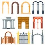 Wölben Sie den Designarchitekturbau-Rahmenklassiker, Spaltenstrukturtortürfassade und Zugangserrichten, die alt sind Lizenzfreies Stockbild