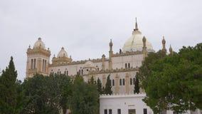 Wölben Sie sich Kathedralen-Heiliges Louis Acropolium auf Hügel unter den Ruinen, die in Karthago Tunesien alt sind Arbeitskraftr stock footage