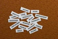 Wörter über die Jobjagd Stockfoto