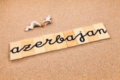 Wörter auf dem Sand azerbajan lizenzfreies stockfoto