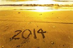 2014 Wörter auf Sand Lizenzfreie Stockbilder