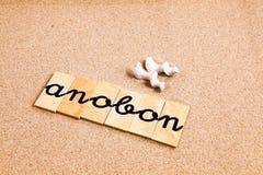 Wörter auf Sand anobon Lizenzfreies Stockbild