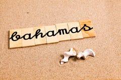 Wörter auf Sand Bahamas Stockbilder
