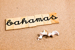 Wörter auf Sand Bahamas stock abbildung