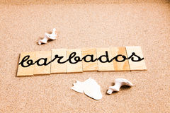 Wörter auf Sand Barbados Lizenzfreies Stockbild