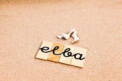 Wörter auf Sand Elba Stockbild