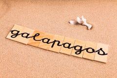 Wörter auf Sand Galapagos Lizenzfreies Stockbild