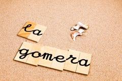 Wörter auf Sand Gomera stock abbildung