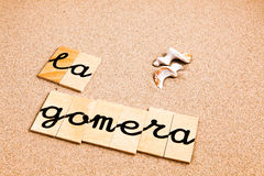 Wörter auf Sand Gomera Stockfoto