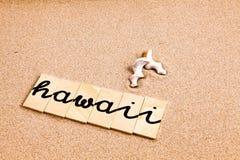 Wörter auf Sand Hawaii Stockfotografie