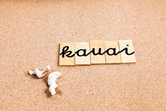 Wörter auf Sand Kauai Lizenzfreie Stockbilder