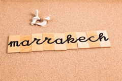Wörter auf Sand Marrakesch stockfotografie