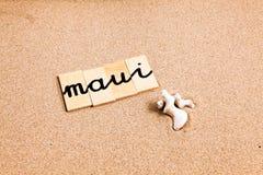 Wörter auf Sand Maui Lizenzfreies Stockfoto