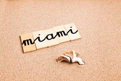Wörter auf Sand Miami Lizenzfreie Stockfotos