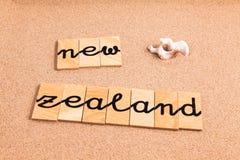 Wörter auf Sand Neuseeland Lizenzfreie Stockfotografie