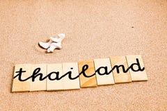 Wörter auf Sand Thailand Lizenzfreie Stockfotos