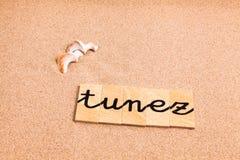 Wörter auf Sand tunez Lizenzfreies Stockfoto