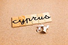Wörter auf Sand Zypern Lizenzfreies Stockfoto