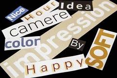 Wörter befestigt von den Zeitschriften Lizenzfreie Stockfotografie