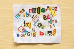 Wörter BLOG von den verschiedenen Buchstaben Lizenzfreies Stockfoto