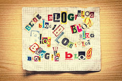 Wörter BLOG von den verschiedenen Buchstaben Stockfoto