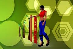 Wörter der Frauen 3d über Erwartungen auf einem Machthaber hinaus, zum der großen Ergebnisillustration zu veranschaulichen Lizenzfreies Stockfoto