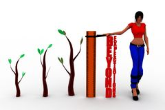 Wörter der Frauen 3d über Erwartungen auf einem Machthaber hinaus, zum von großen Ergebnissen zu veranschaulichen Lizenzfreie Stockfotos