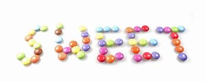 Wörter in der Süßigkeit Lizenzfreie Stockfotos