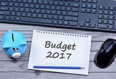 Wörter des Budgets 2017 auf Notizbuch Lizenzfreie Stockbilder