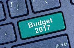 Wörter des Budgets 2017 auf Tastatur Lizenzfreie Stockfotos