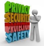 Wörter des Privatleben-Sicherheits-Schutz-Sicherheits-Denker-3d Stockfoto