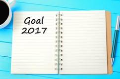 Wörter des Ziels 2017 auf Notizbuch Stockbilder