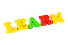 Wörter erlernen gebildet von ABC Stockbilder