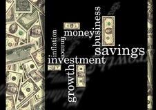 Wörter mit Geld Stockbilder
