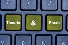 Wörter Theorie u. des Praxis auf Tastaturknopf Stockbild