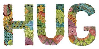 Wörter UMARMUNG Vektor dekorativer zentangle Gegenstand Stockfoto