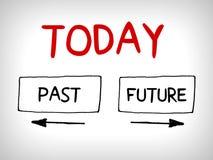 Wörter vorüber, heute und zukünftiges Konzept mit Pfeilen Lizenzfreies Stockbild