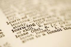 Wörterbucheintrag für das Lernen. stockfotos
